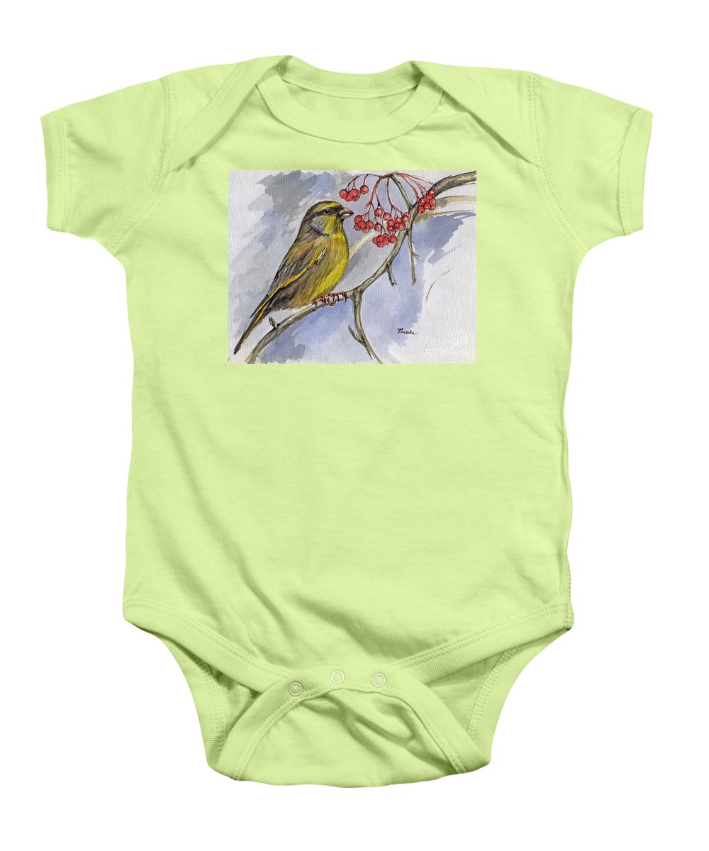 Greenfinch Baby Onesie featuring the painting The Greenfinch by Angel Ciesniarska