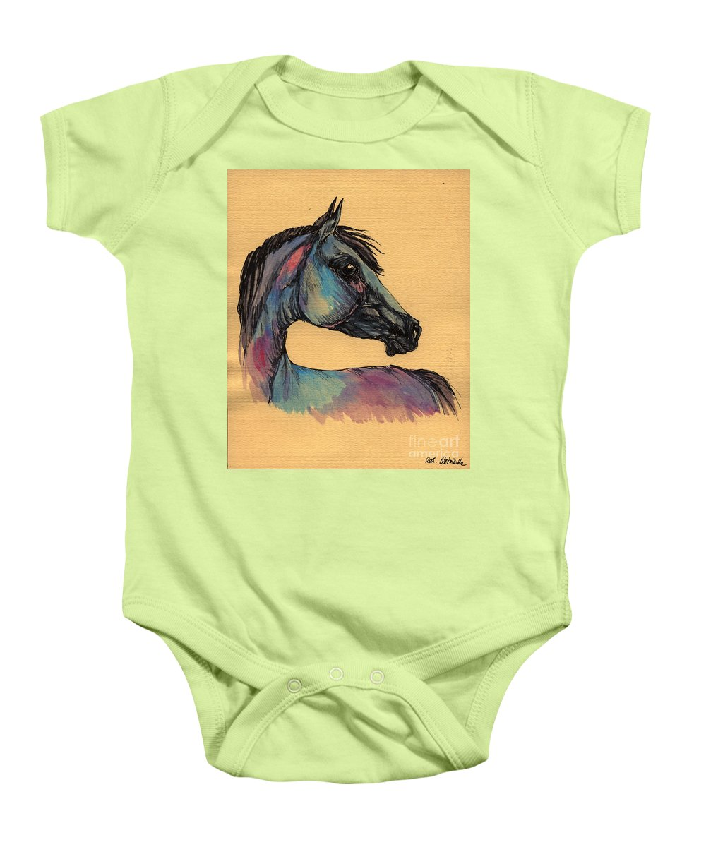 Horse Baby Onesie featuring the painting The Horse Portrait 1 by Angel Ciesniarska