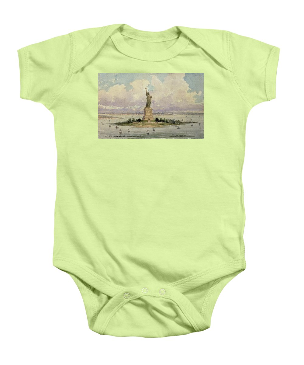Harbour Baby Onesie featuring the painting The Statue Of Liberty by Frederic Auguste Bartholdi