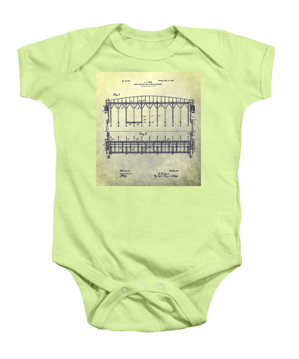 Horse Breaker Patent Baby Onesie featuring the mixed media Thoroughbred Race Starting Gate Patent by Dan Sproul