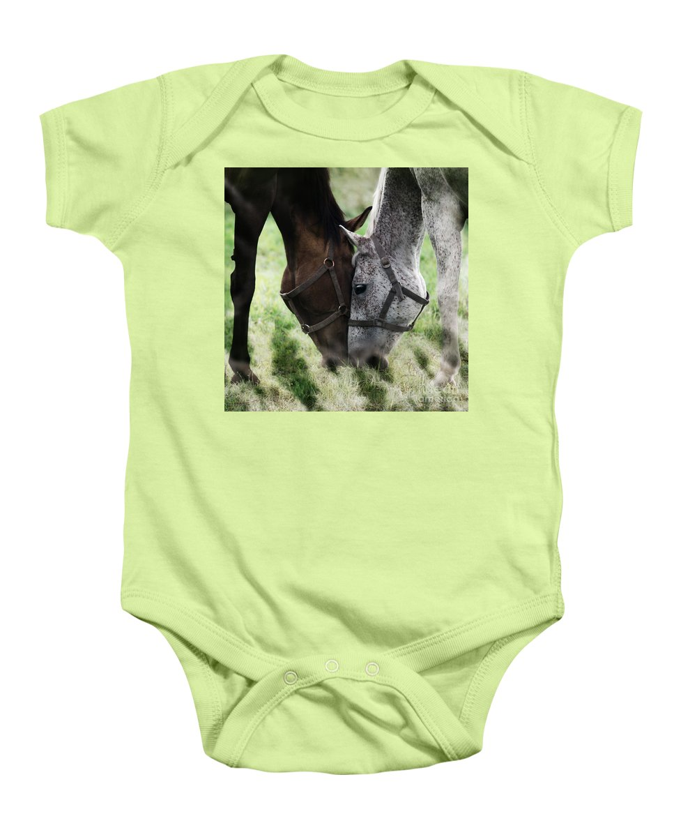 Horses Baby Onesie featuring the photograph Together by Angel Ciesniarska