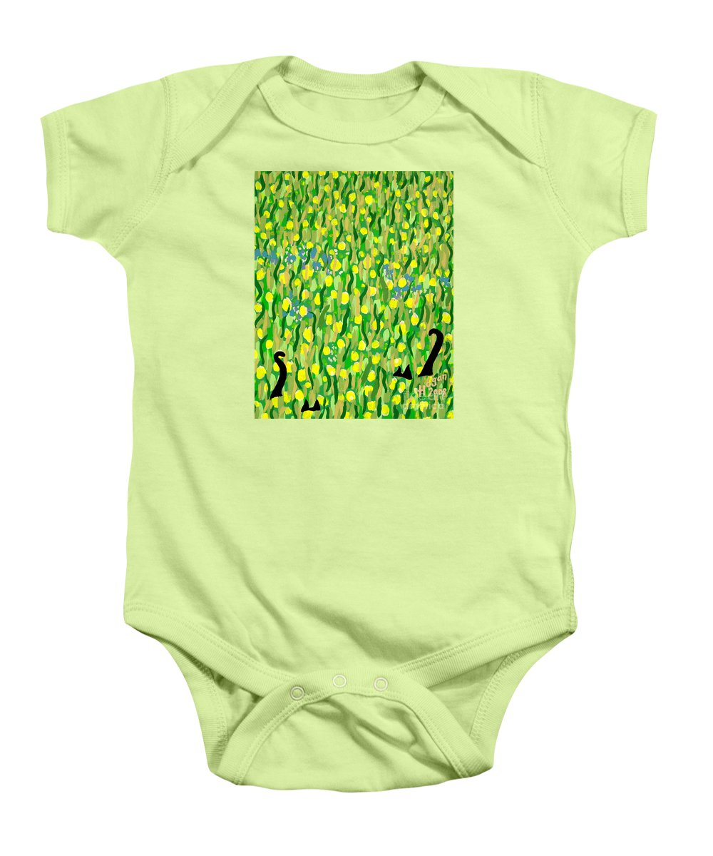 Flowers Baby Onesie featuring the painting Two Black Cats by Alan Hogan