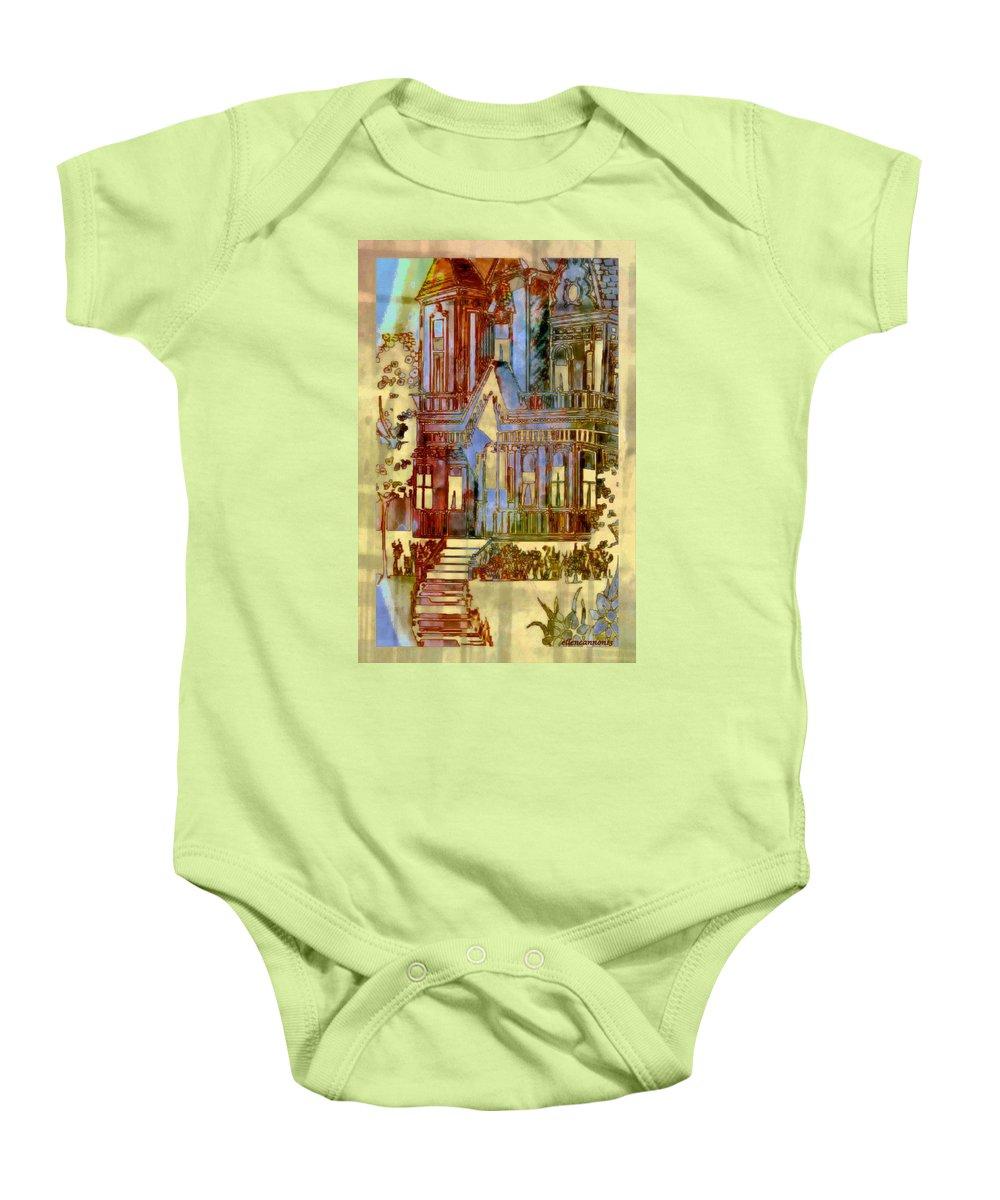 Home Baby Onesie featuring the digital art Victorian Home Dream by Ellen Cannon