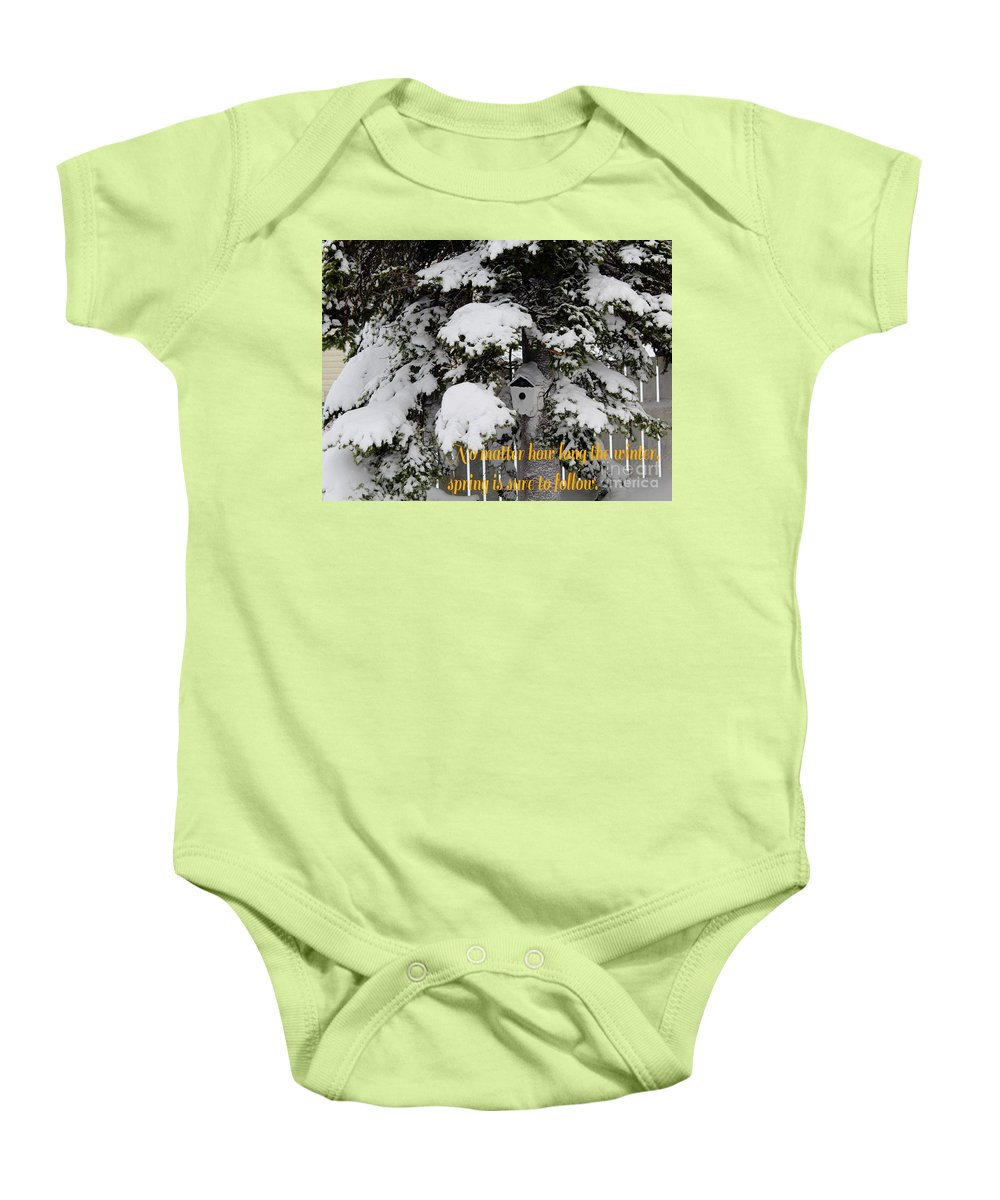 Waiting For Spring Baby Onesie featuring the photograph Waiting For Spring by Barbara Griffin