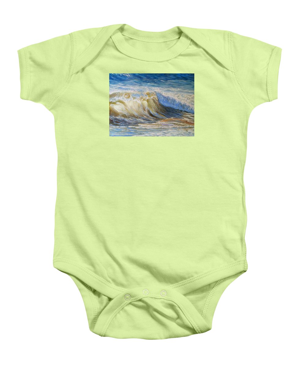 Wave Baby Onesie featuring the painting Wave2 by Elena Sokolova