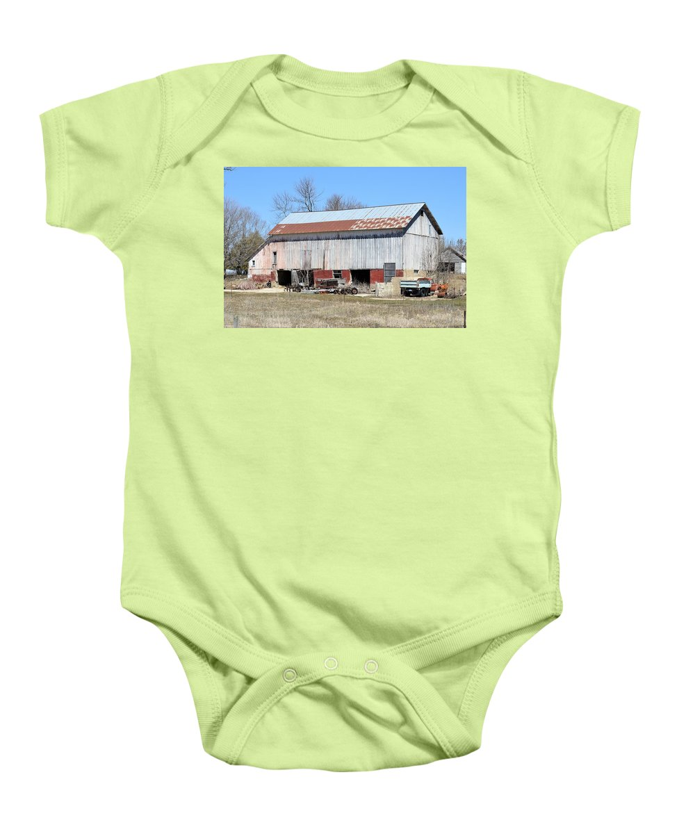 Barn Baby Onesie featuring the photograph Weathered Storage by Bonfire Photography