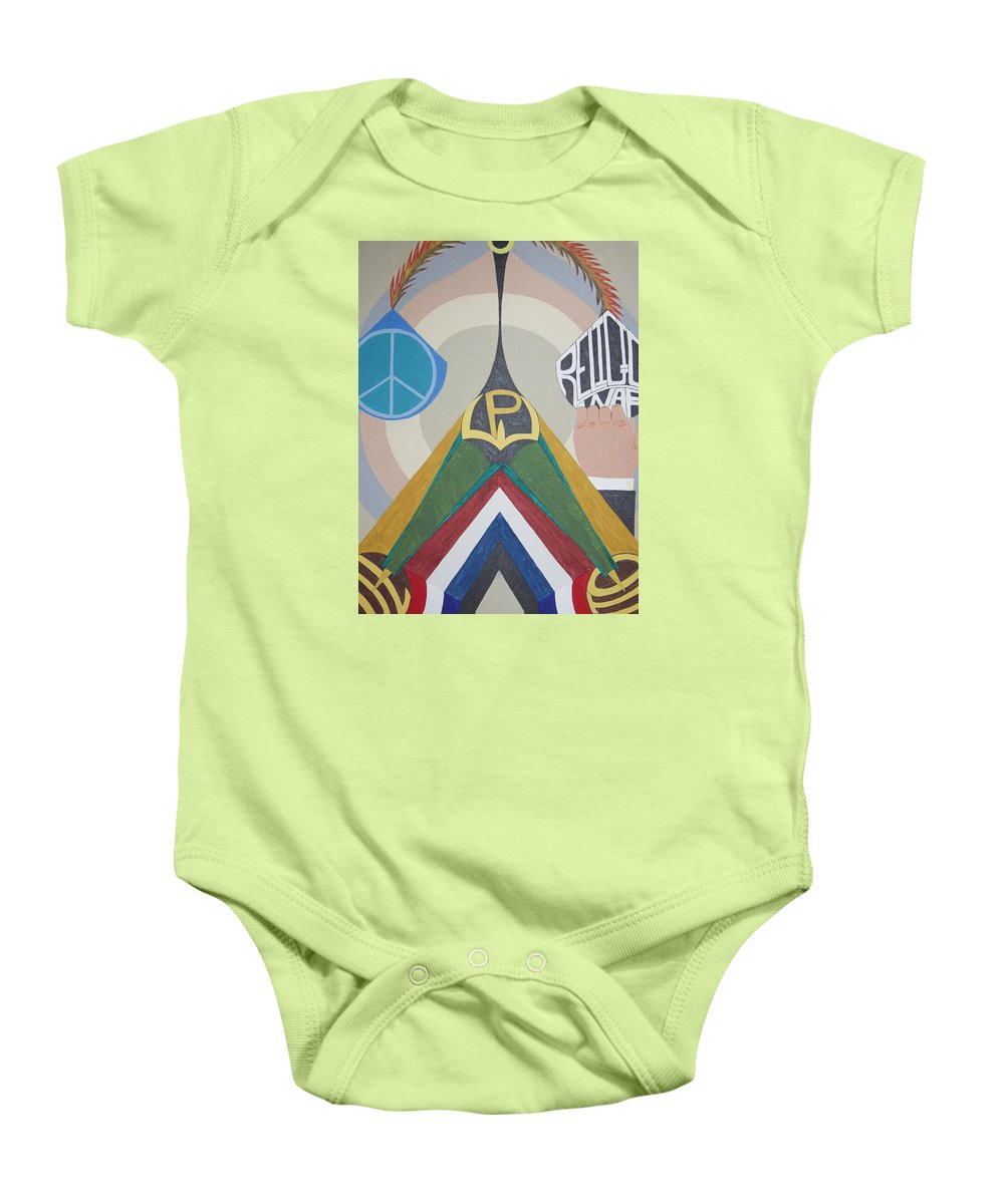 Peace Baby Onesie featuring the painting Weighing Peace by Dean Stephens