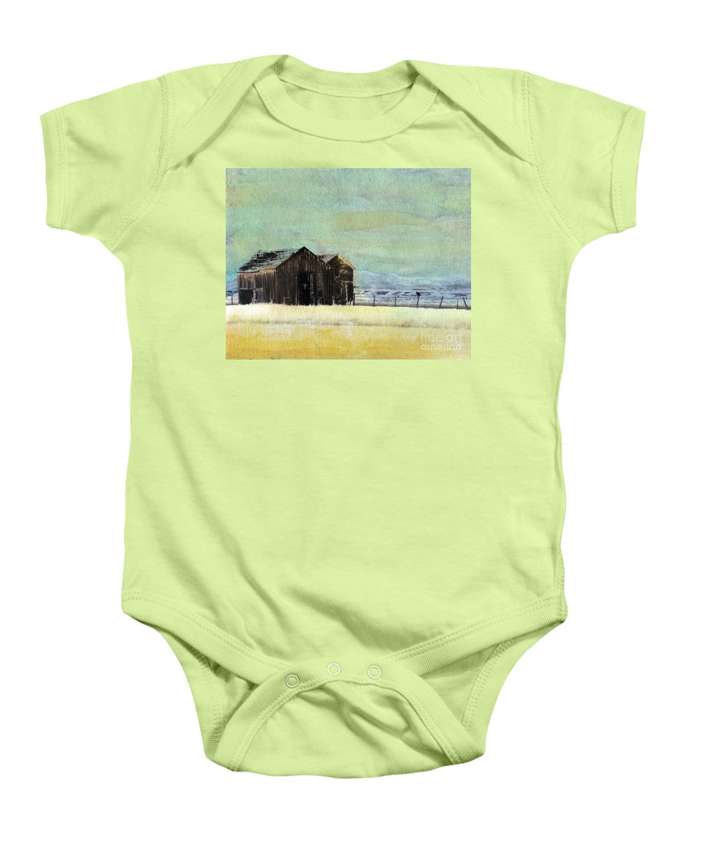 Watercolor Baby Onesie featuring the painting Winter In Montana by Desiree Paquette