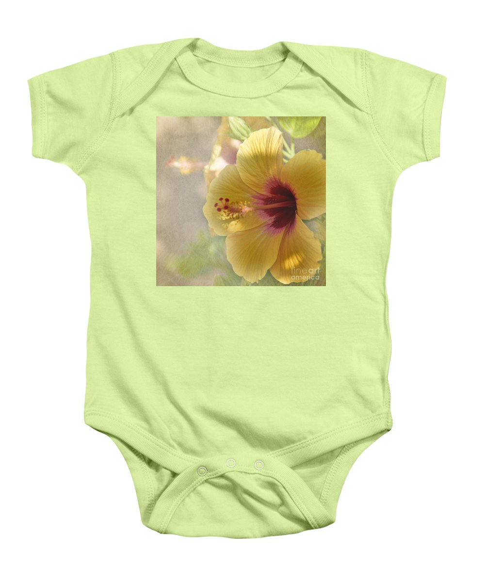Flower Baby Onesie featuring the photograph Yellow Hibiscus by Peggy Hughes