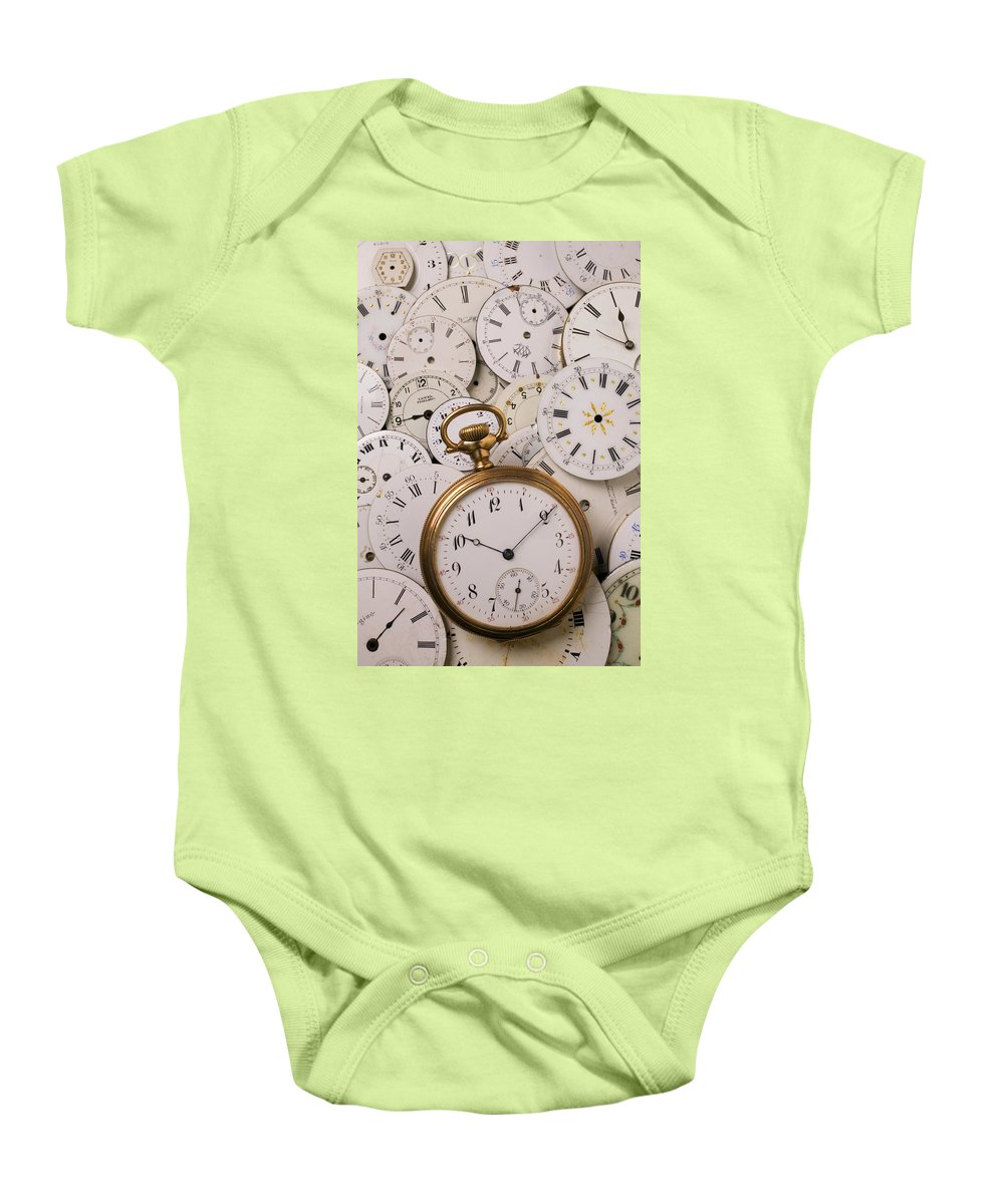 Time Baby Onesie featuring the photograph Old Pocket Watch On Dail Faces by Garry Gay