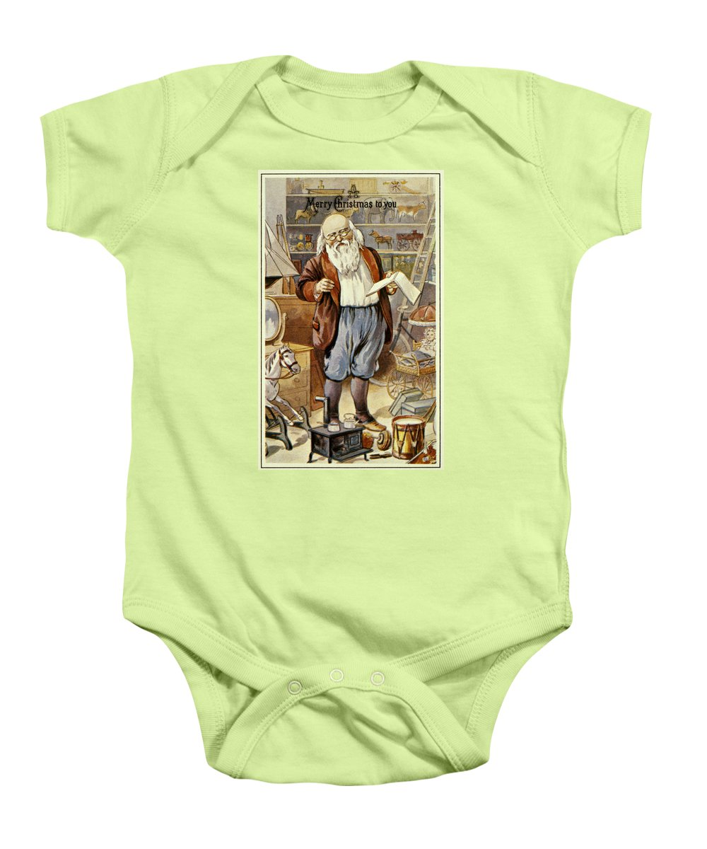 19th Century Baby Onesie featuring the photograph American Christmas Card by Granger