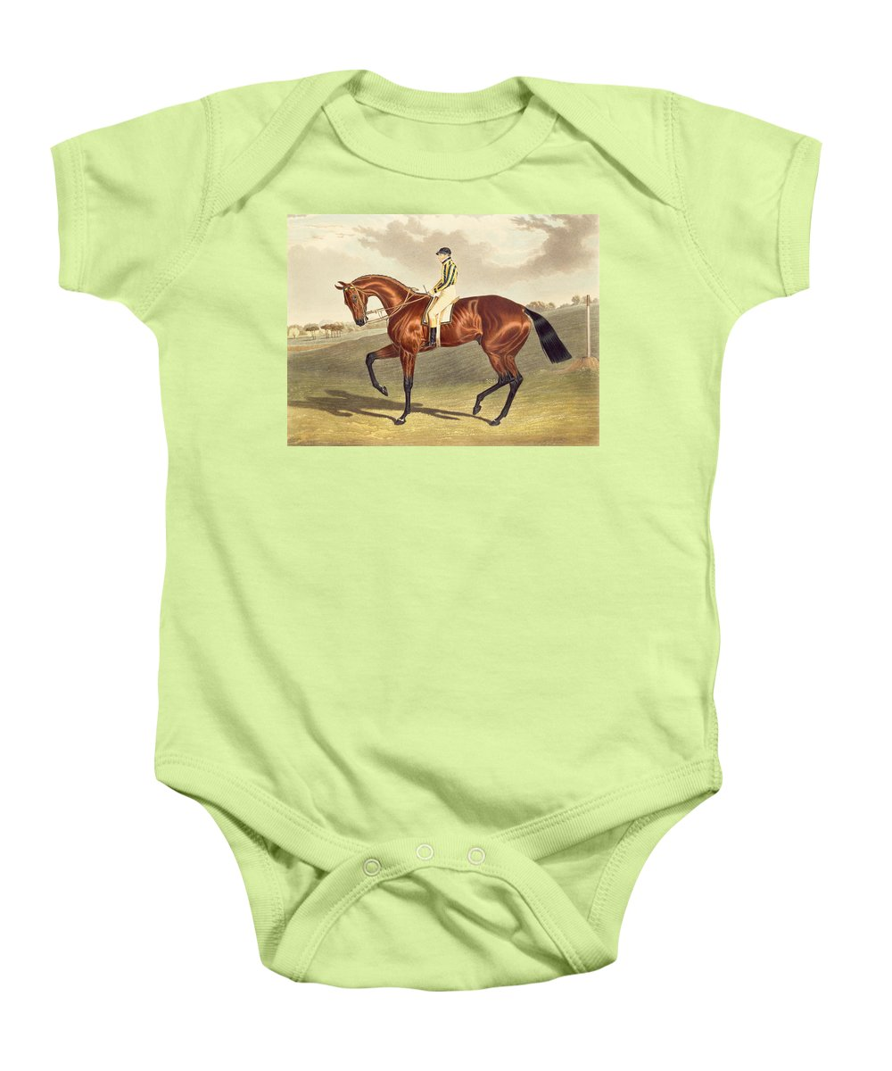 Jockey; Thoroughbred Baby Onesie featuring the painting Bay Middleton Winner Of The Derby In 1836 by John Frederick Herring Snr