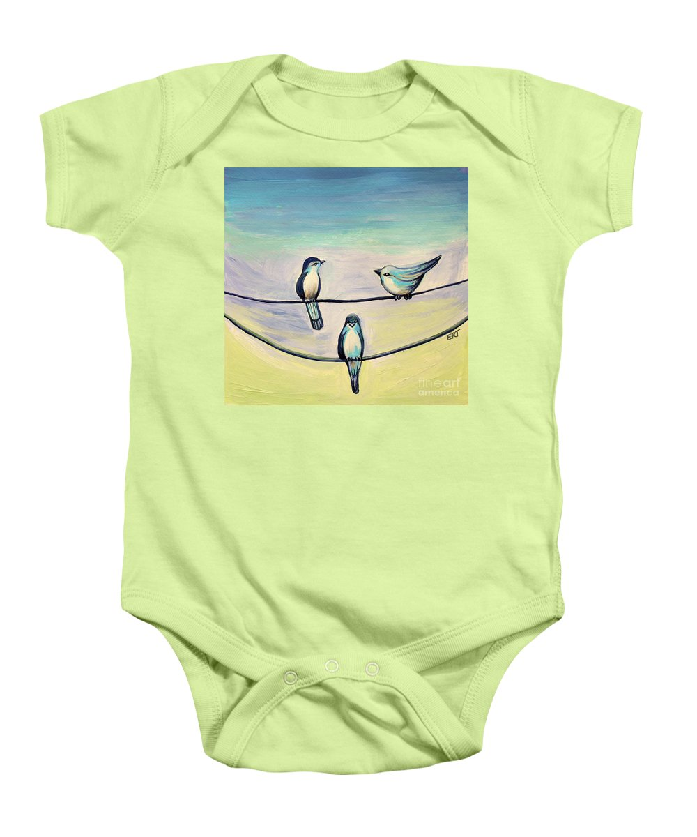 Beach Baby Onesie featuring the painting Beach Birds by Elizabeth Robinette Tyndall
