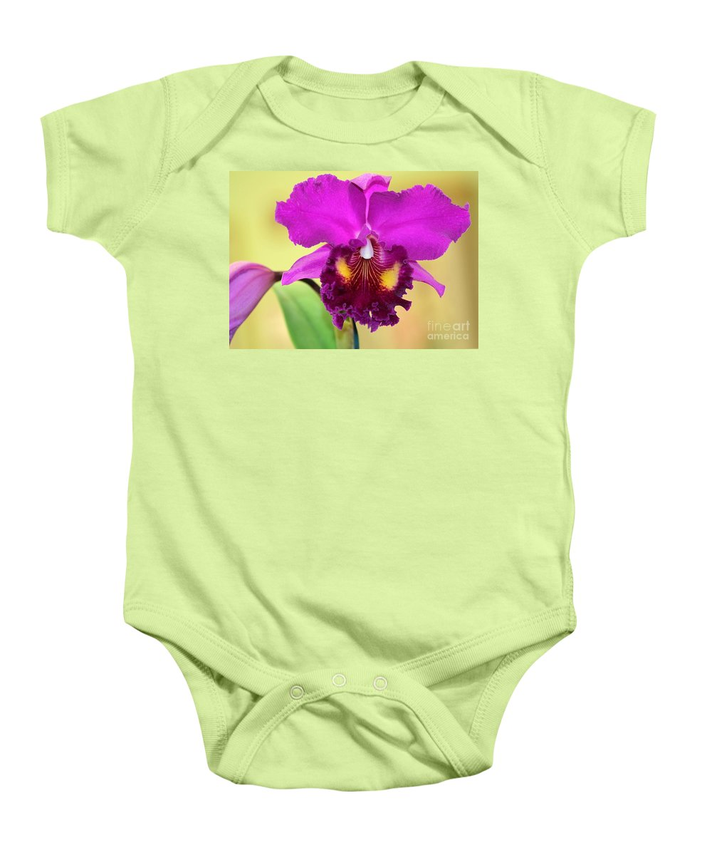 Orchid Baby Onesie featuring the photograph Beautiful Hot Pink Orchid by Sabrina L Ryan