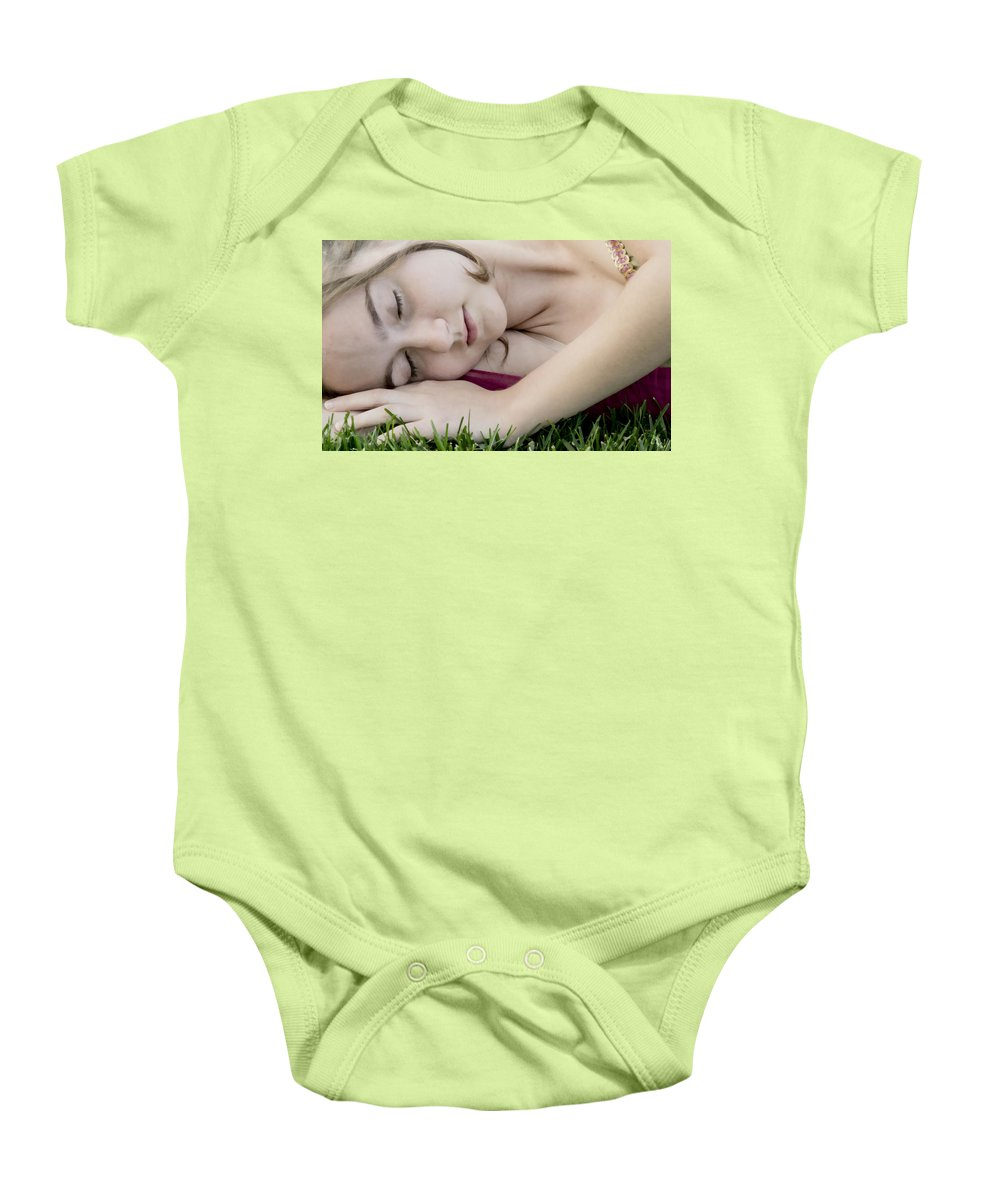Girl Baby Onesie featuring the photograph Bella Sleeps by Angelina Vick