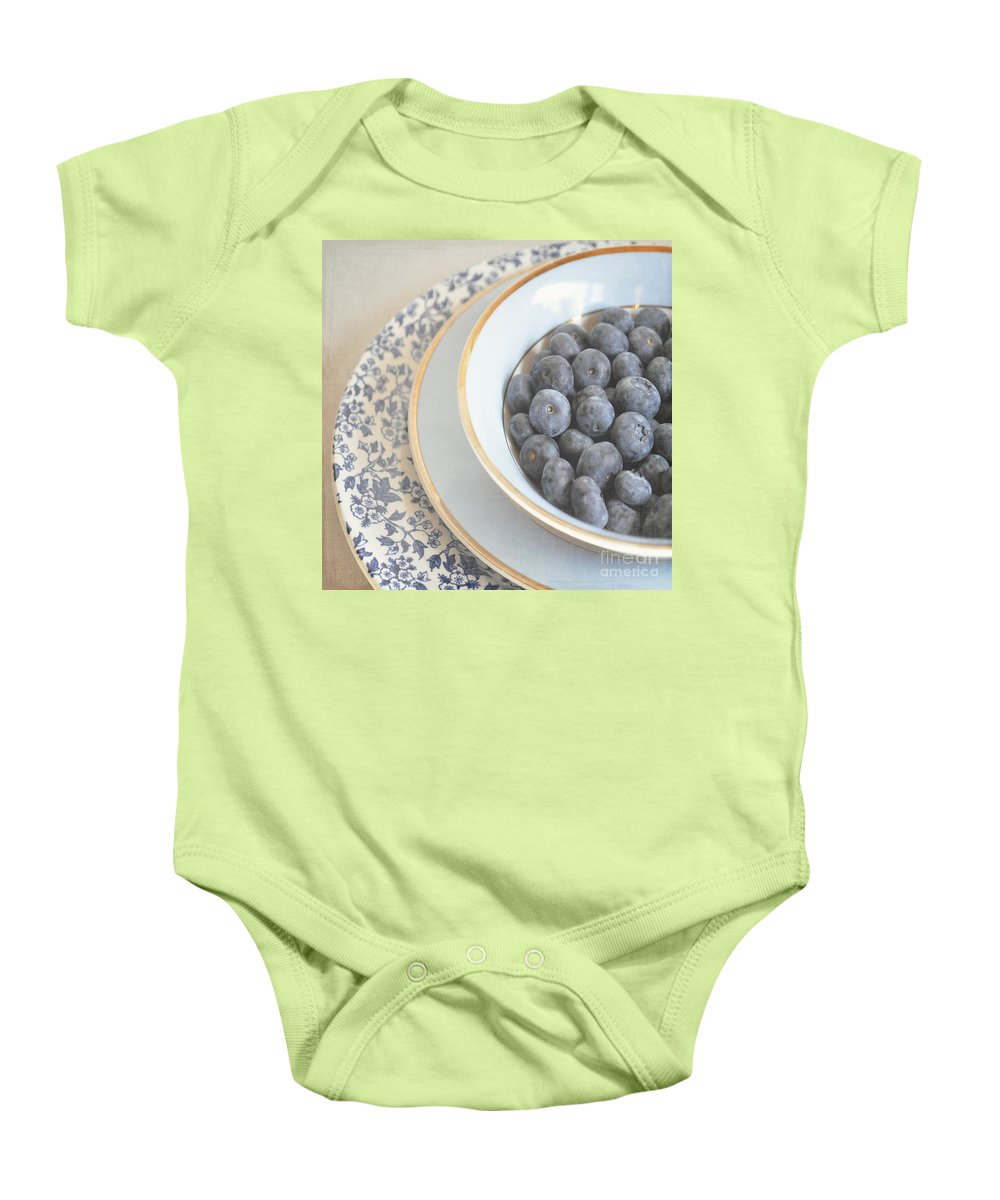 Blueberries Baby Onesie featuring the photograph Blueberries In Blue And White China Bowl by Lyn Randle
