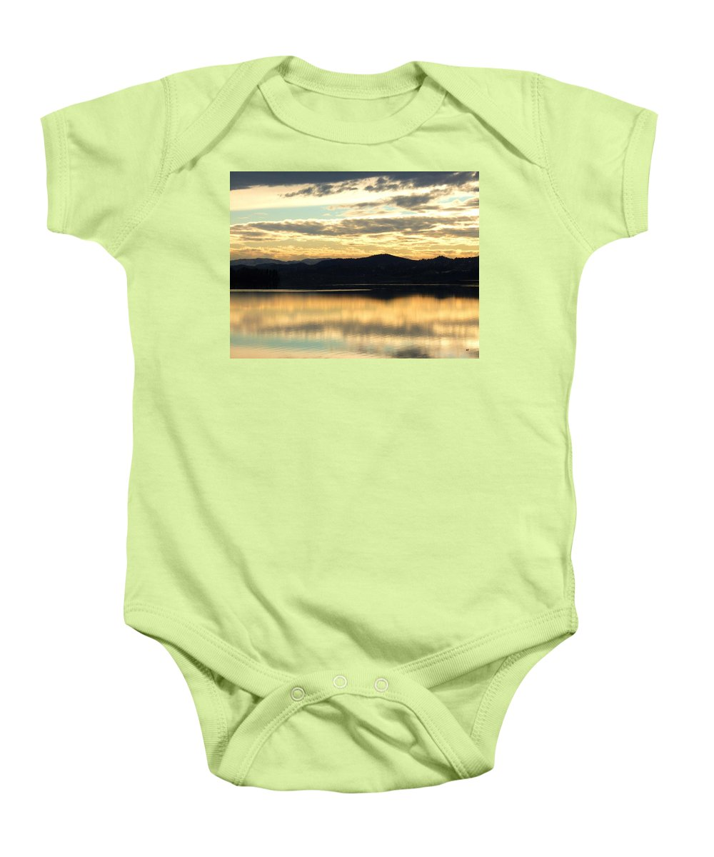 Copper Sky Baby Onesie featuring the photograph Copper Sky And Reflections by Will Borden
