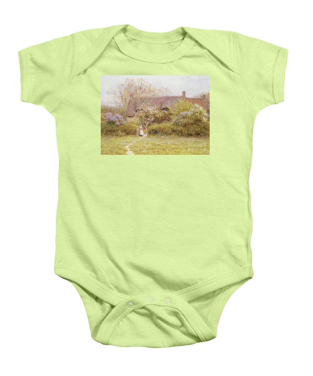 Cottage Baby Onesie featuring the painting Cottage Freshwater Isle Of Wight by Helen Allingham