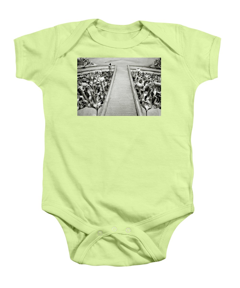 B&w Baby Onesie featuring the photograph Cycle Of Rebirth At Wat Rong Khun In Thailand by Shaun Higson