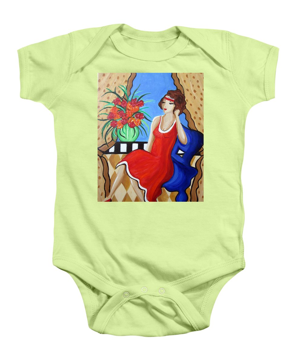 Whymsical Baby Onesie featuring the painting Daydreaming by Rosie Sherman