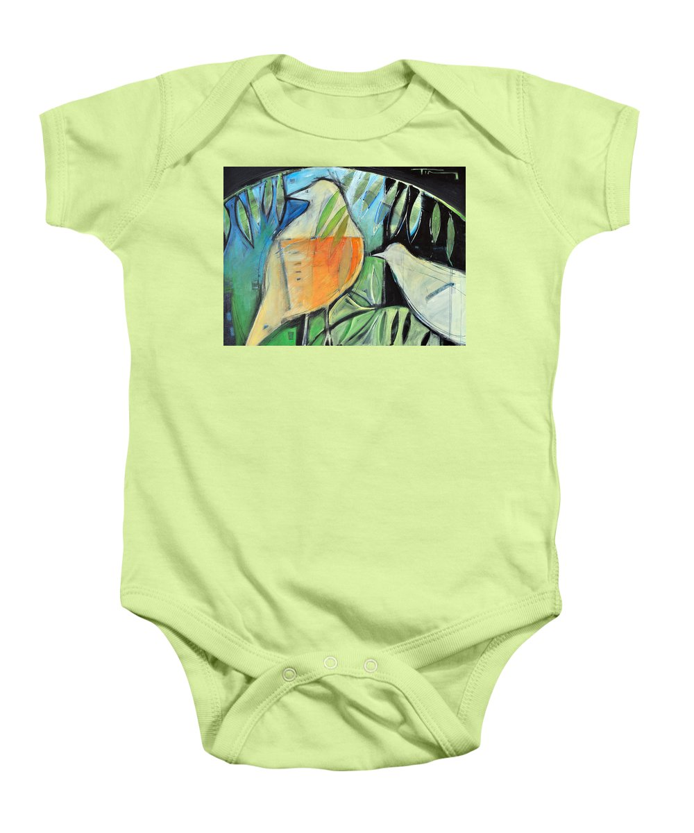 Birds Baby Onesie featuring the painting Defender by Tim Nyberg