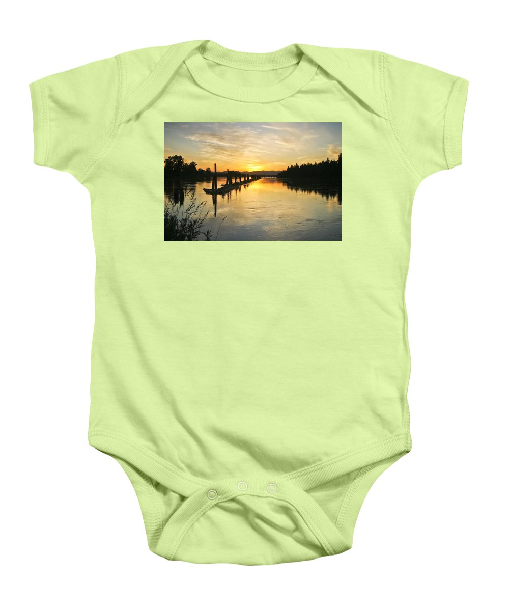 Clark Fork Baby Onesie featuring the photograph Delta Sunset by Albert Seger
