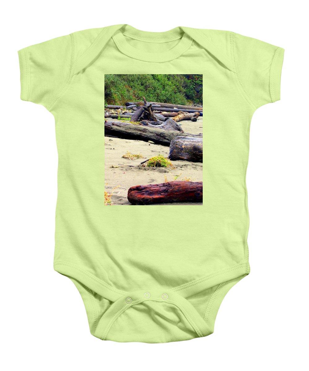 Beach Combing Baby Onesie featuring the photograph Drift Logs by Judy Garrett