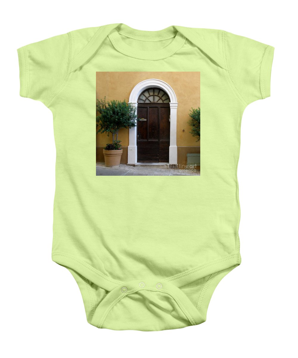 Door Baby Onesie featuring the photograph Enchanting Door by Lainie Wrightson
