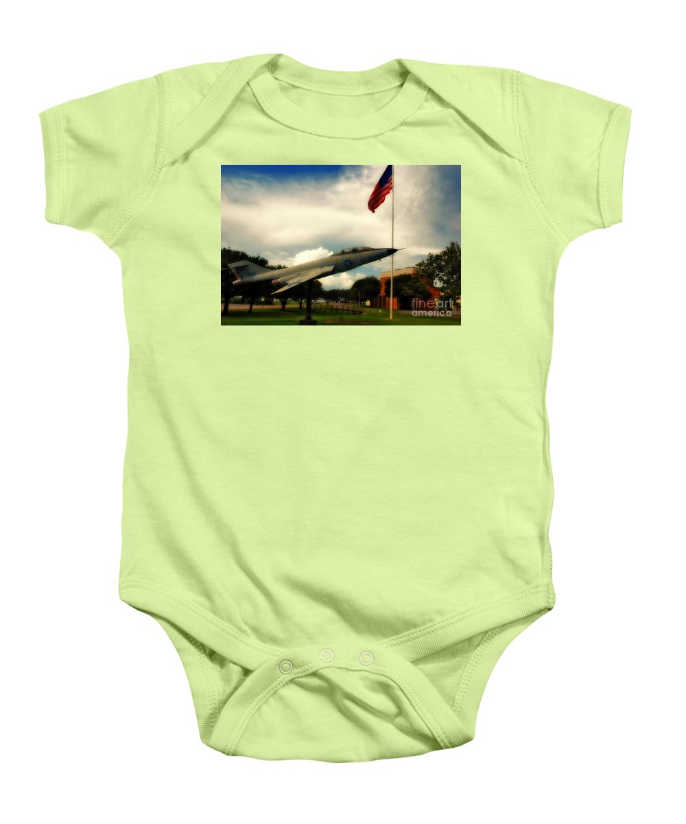 Fighter Baby Onesie featuring the photograph Fighter Jet Panama City Fl by Susanne Van Hulst