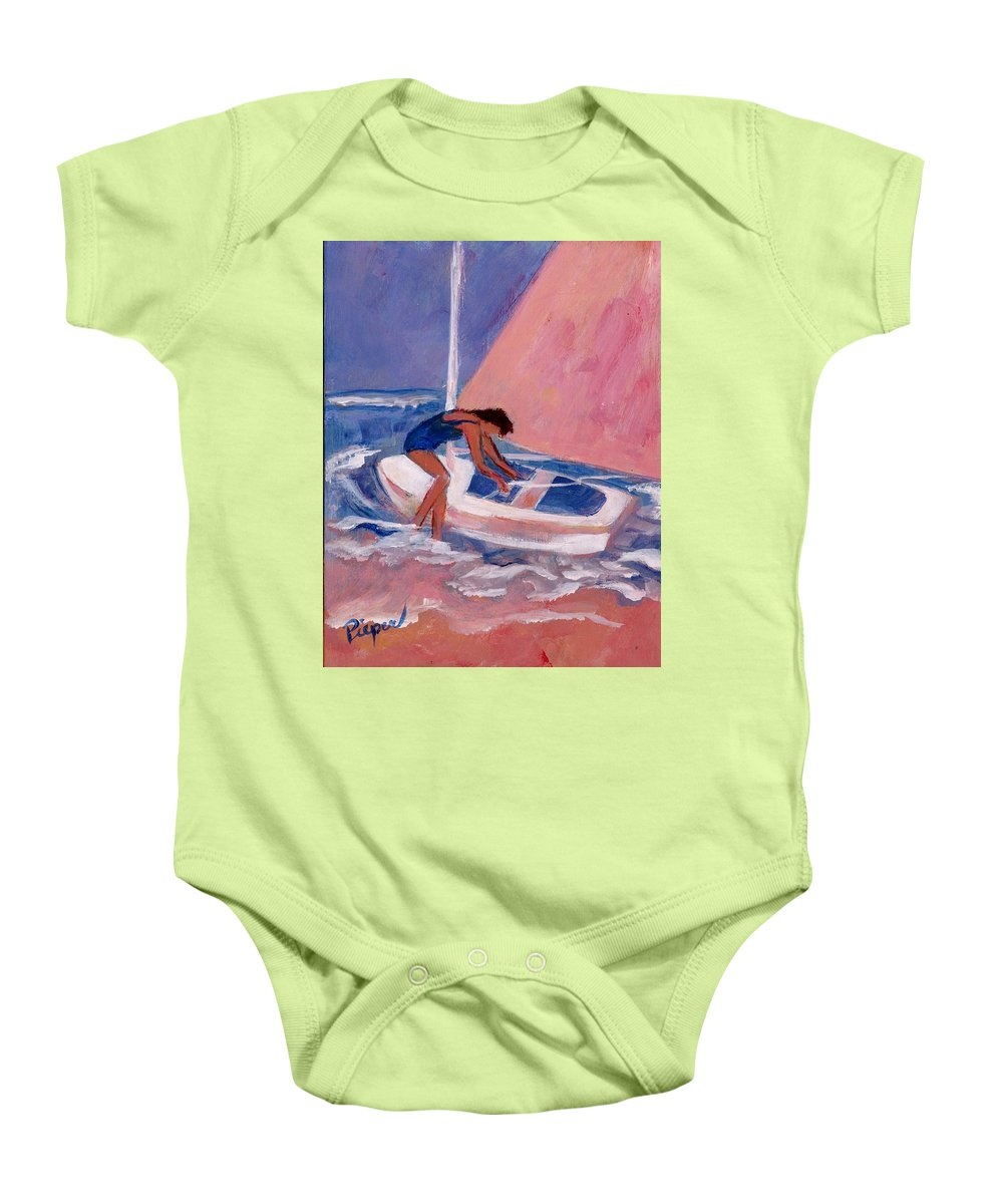 Woman Fighting Waves Baby Onesie featuring the painting Fighting To Sail by Betty Pieper
