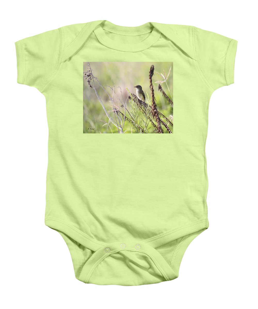 Roena King Baby Onesie featuring the photograph Flycatcher On A Twig by Roena King