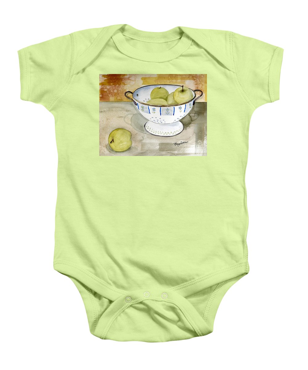 Yellow Apples Baby Onesie featuring the painting Golden Apples by Nancy Patterson