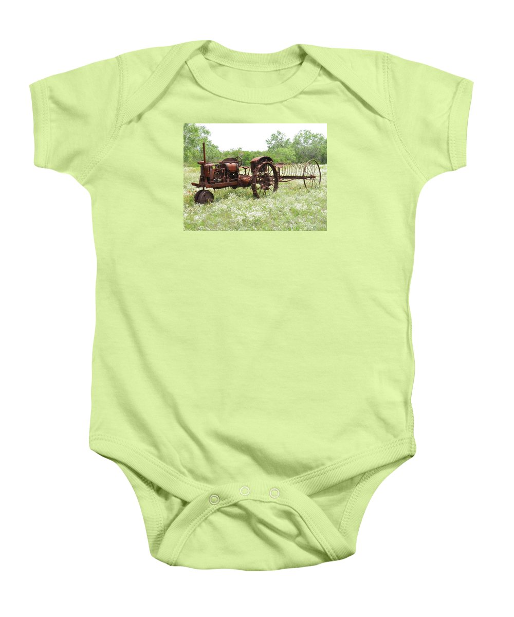 Tractor Baby Onesie featuring the photograph Good Ole Days by Sandra Vasko