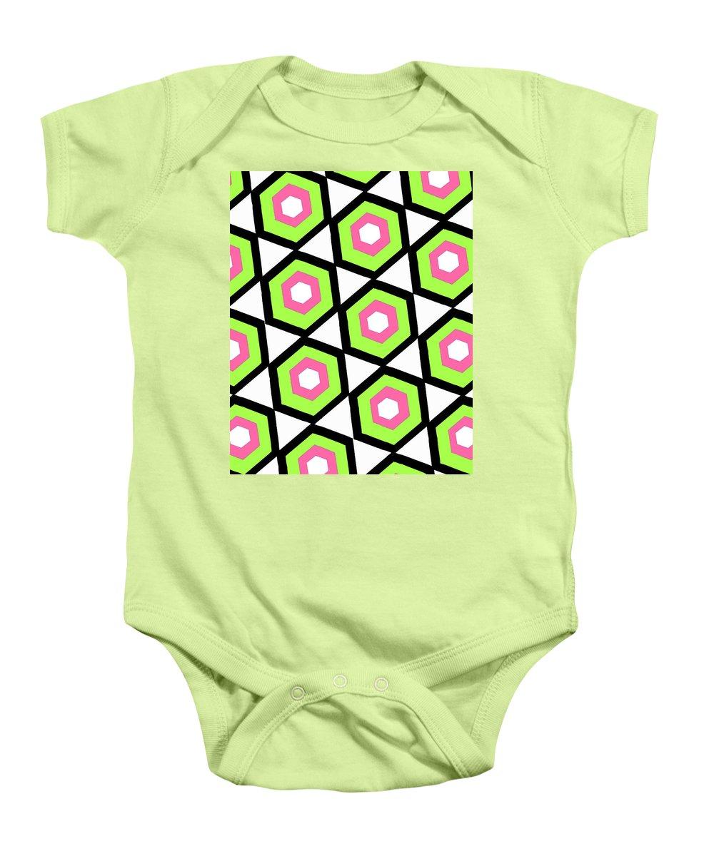 Louisa Baby Onesie featuring the digital art Hexagon by Louisa Knight