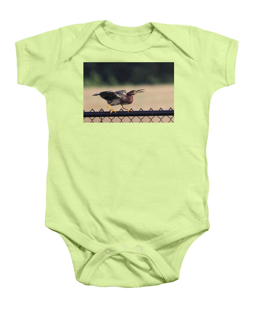 Green Heron Baby Onesie featuring the photograph Just A Bluff by Travis Truelove