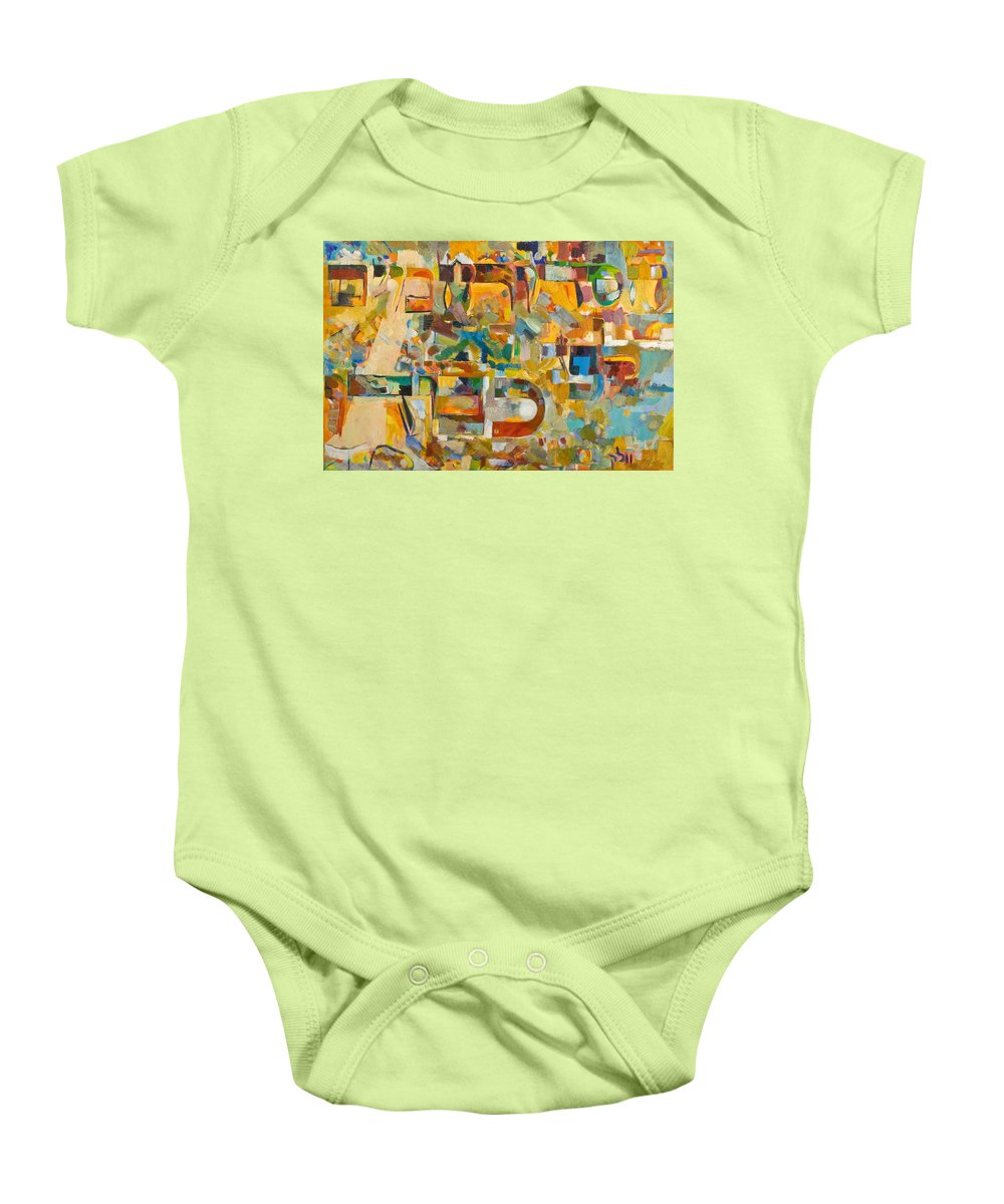 Song Baby Onesie featuring the painting Kindness And Mercy Are Before Hashem's Glory by David Baruch Wolk