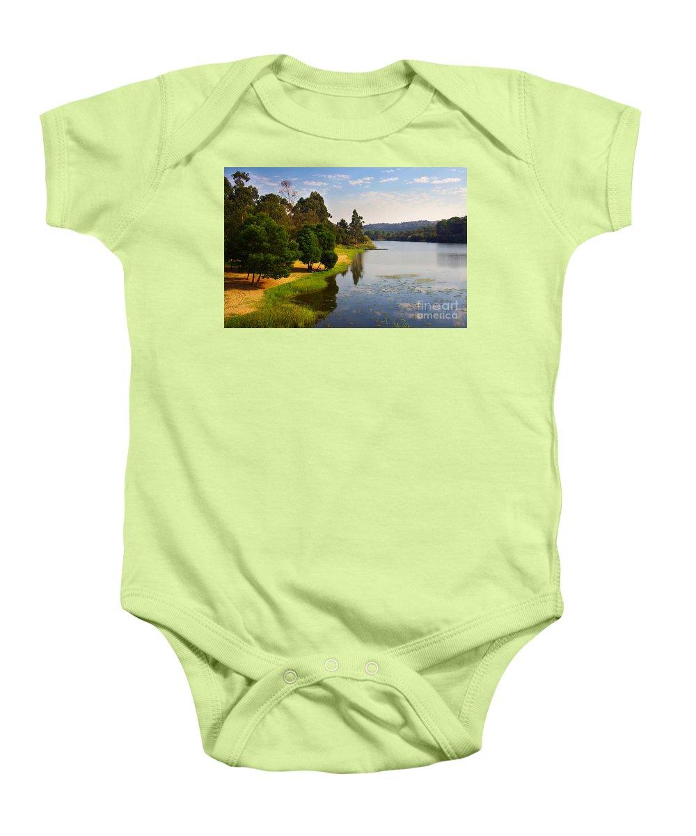 Alentejo Baby Onesie featuring the photograph Lake Landscape by Carlos Caetano