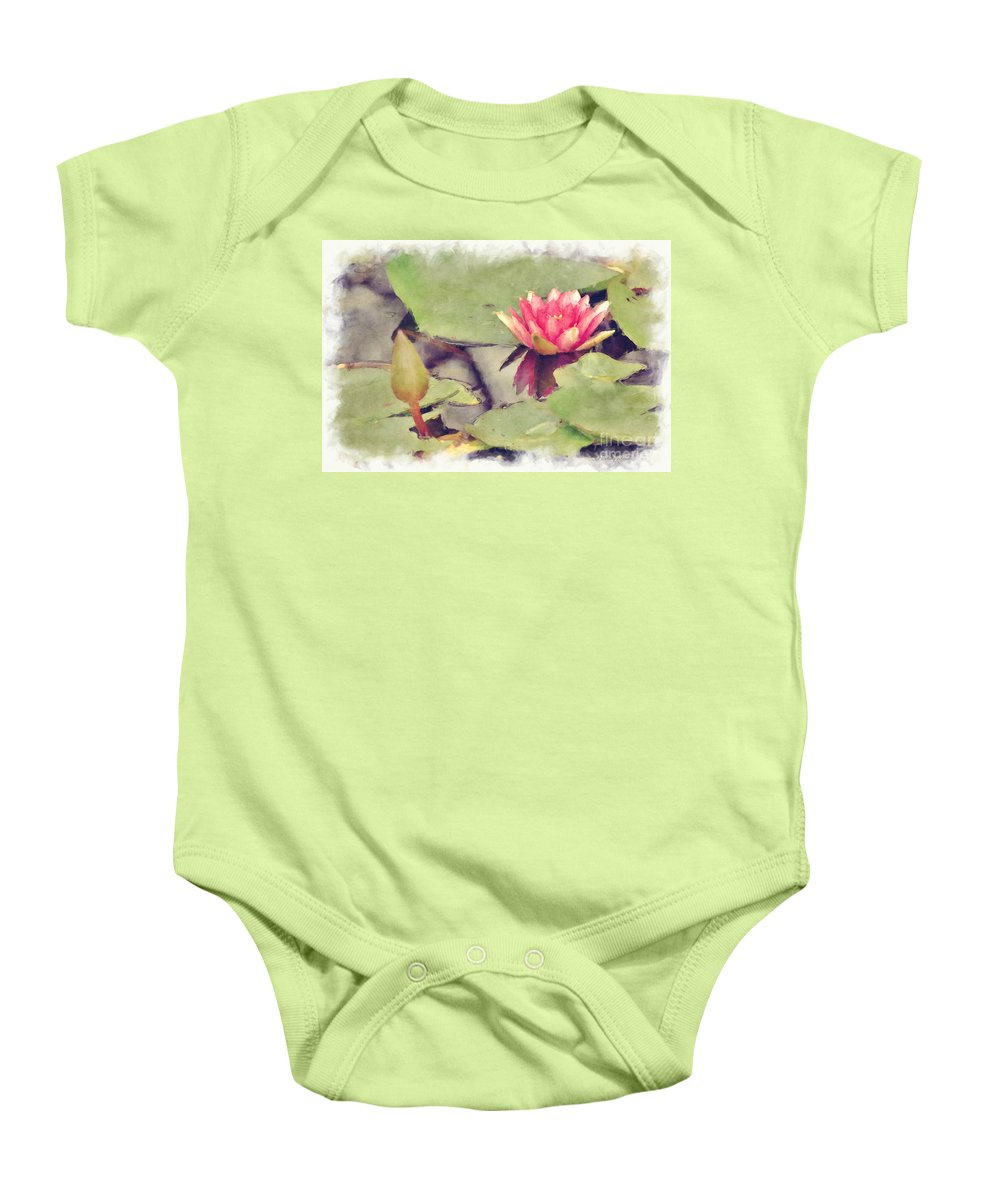 Flowers Baby Onesie featuring the photograph Lotus Flower12 by Donna Bentley