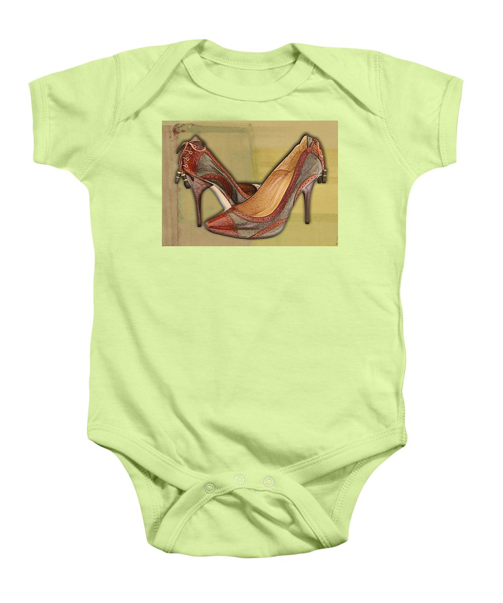 Shoes Heels Pumps Fashion Designer Feet Foot Shoe Baby Onesie featuring the painting Military Camouflage Stilettos With Tassels by Elaine Plesser