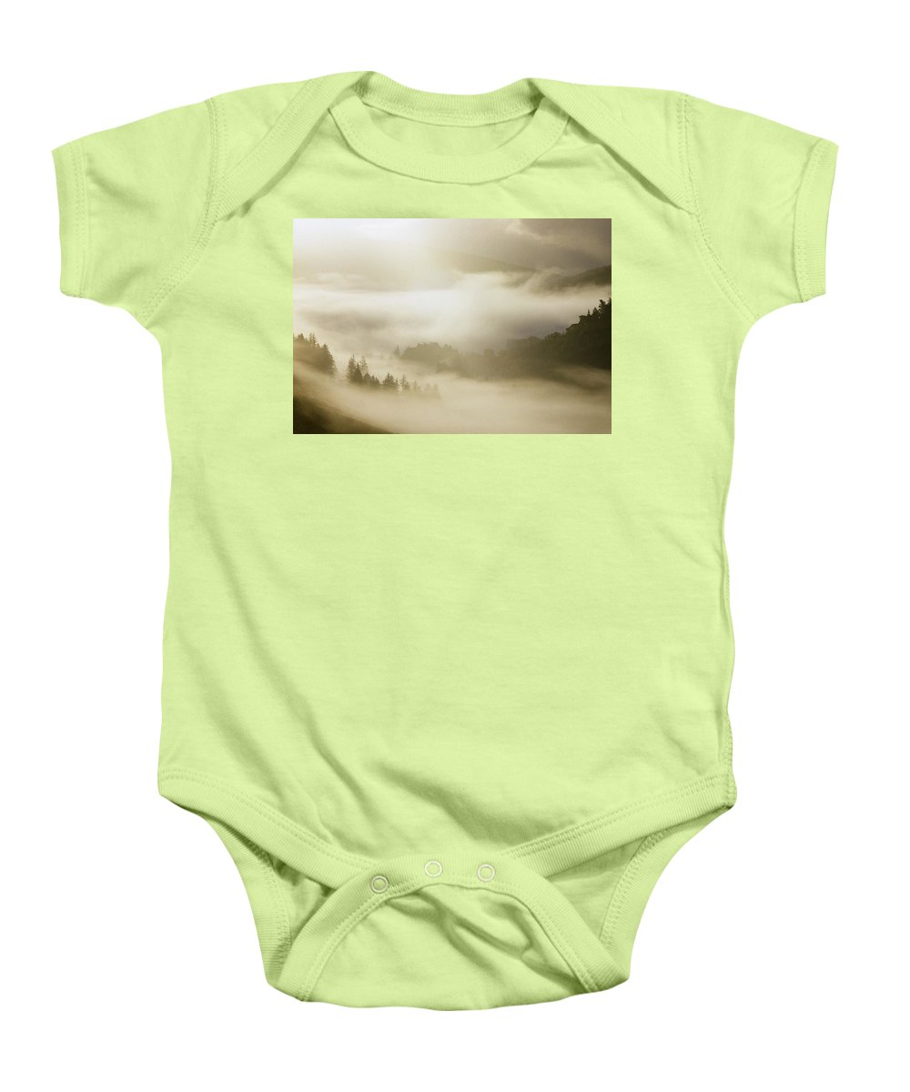 Ireland Baby Onesie featuring the photograph Mist In Glendalough by The Irish Image Collection