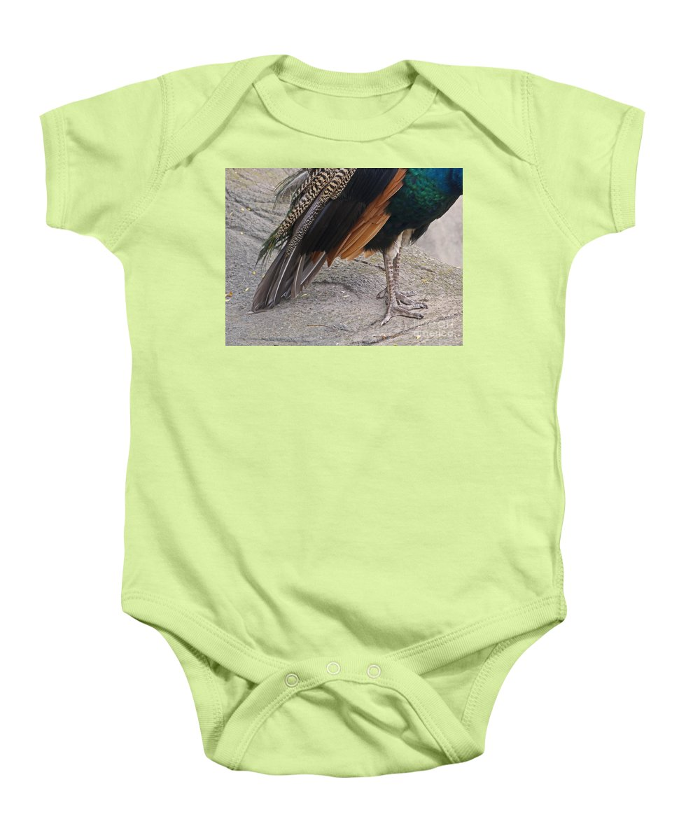 Peahen Baby Onesie featuring the photograph Her Kind Of Beauty by Ann Horn