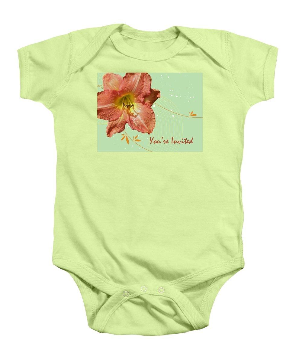 Invitation Baby Onesie featuring the photograph Party Invitation - Orange Day Lily by Mother Nature