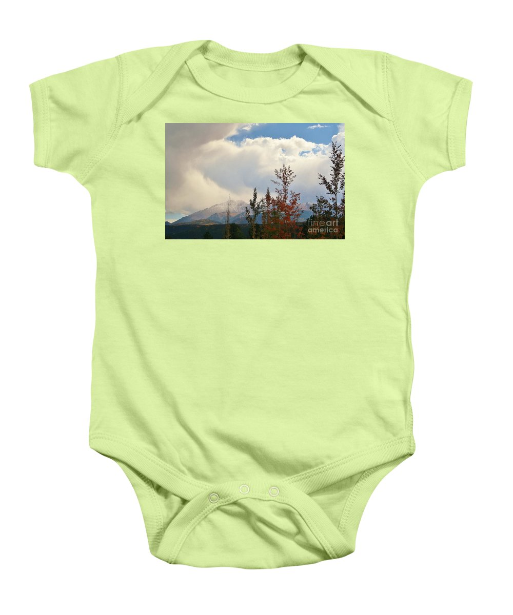 Fall Baby Onesie featuring the photograph Pikes Peak View by Ellen Heaverlo