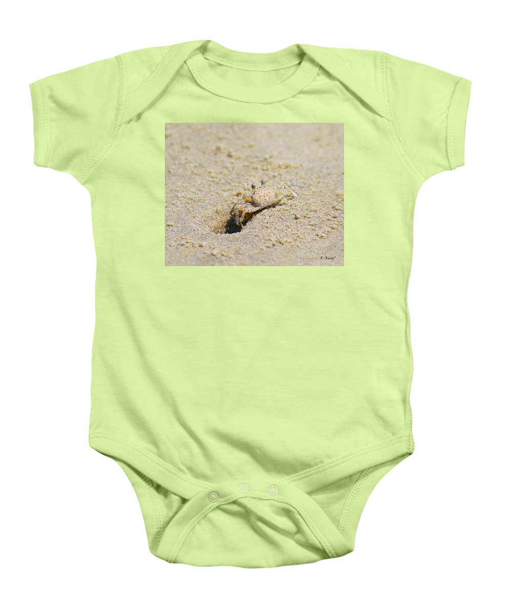 Roena King Baby Onesie featuring the photograph Sand Crab Digging His Hole by Roena King