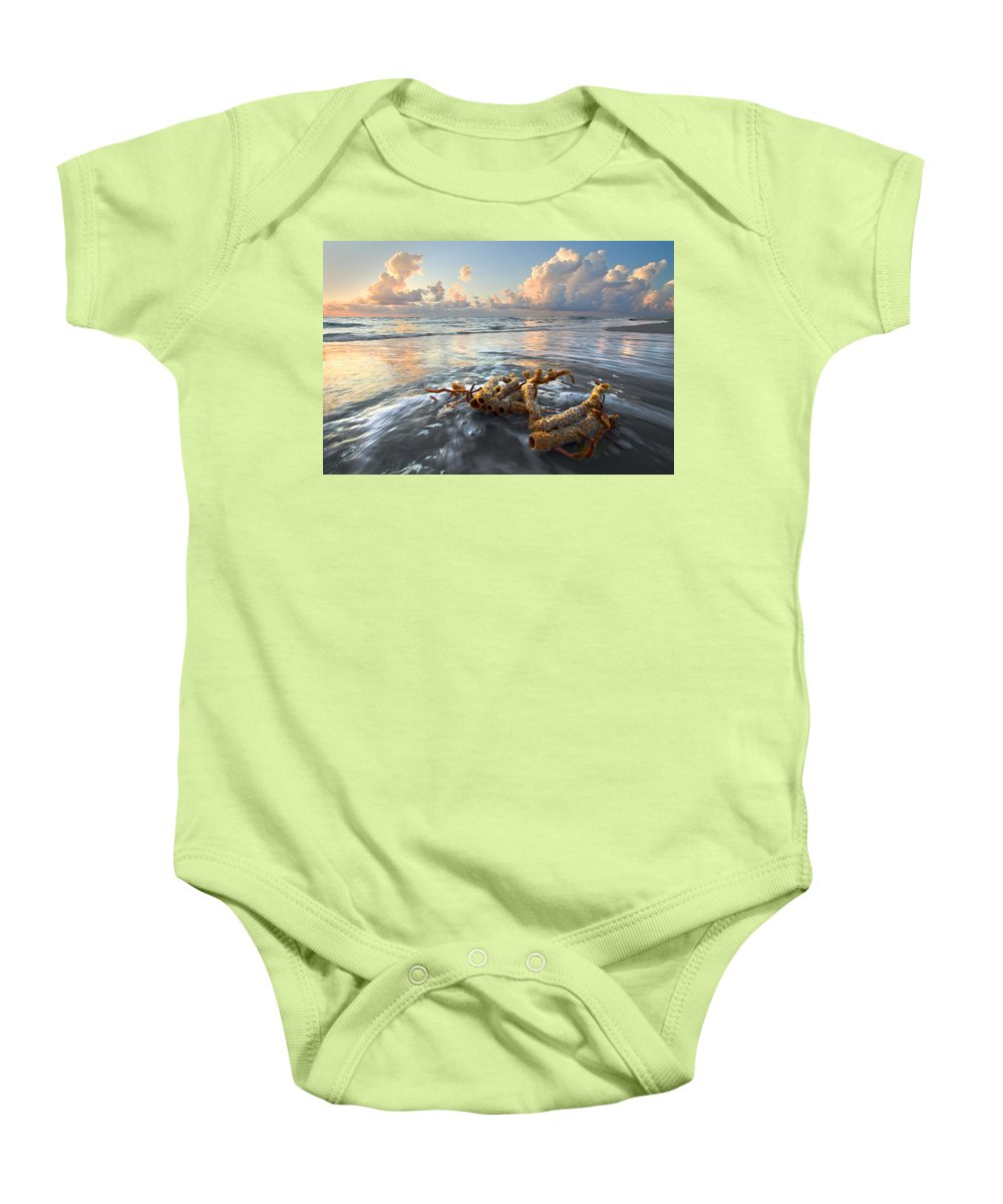 Clouds Baby Onesie featuring the photograph Sea Jewel by Debra and Dave Vanderlaan