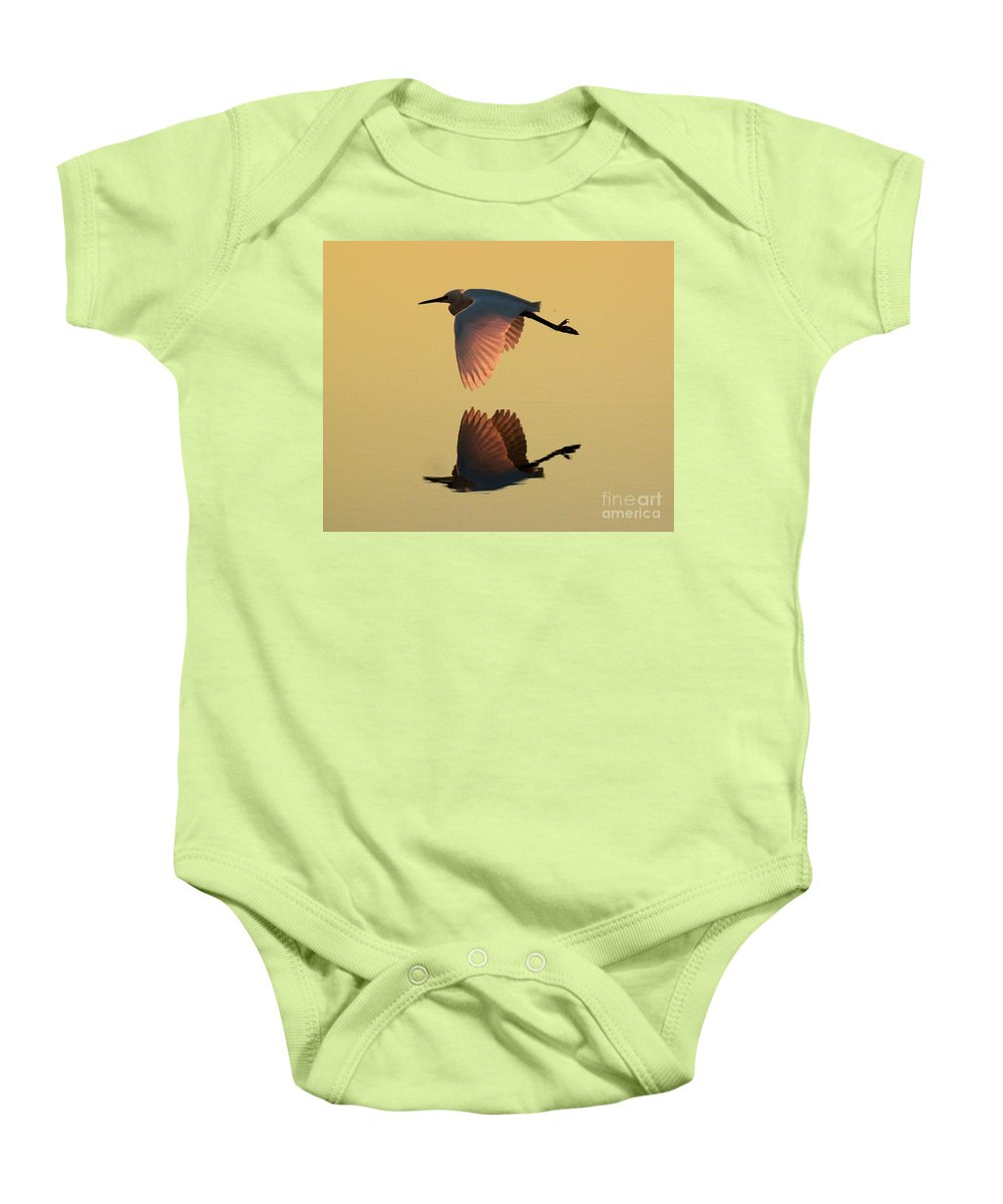 Snowy Egret Baby Onesie featuring the photograph Snowy Reflections by Adam Jewell