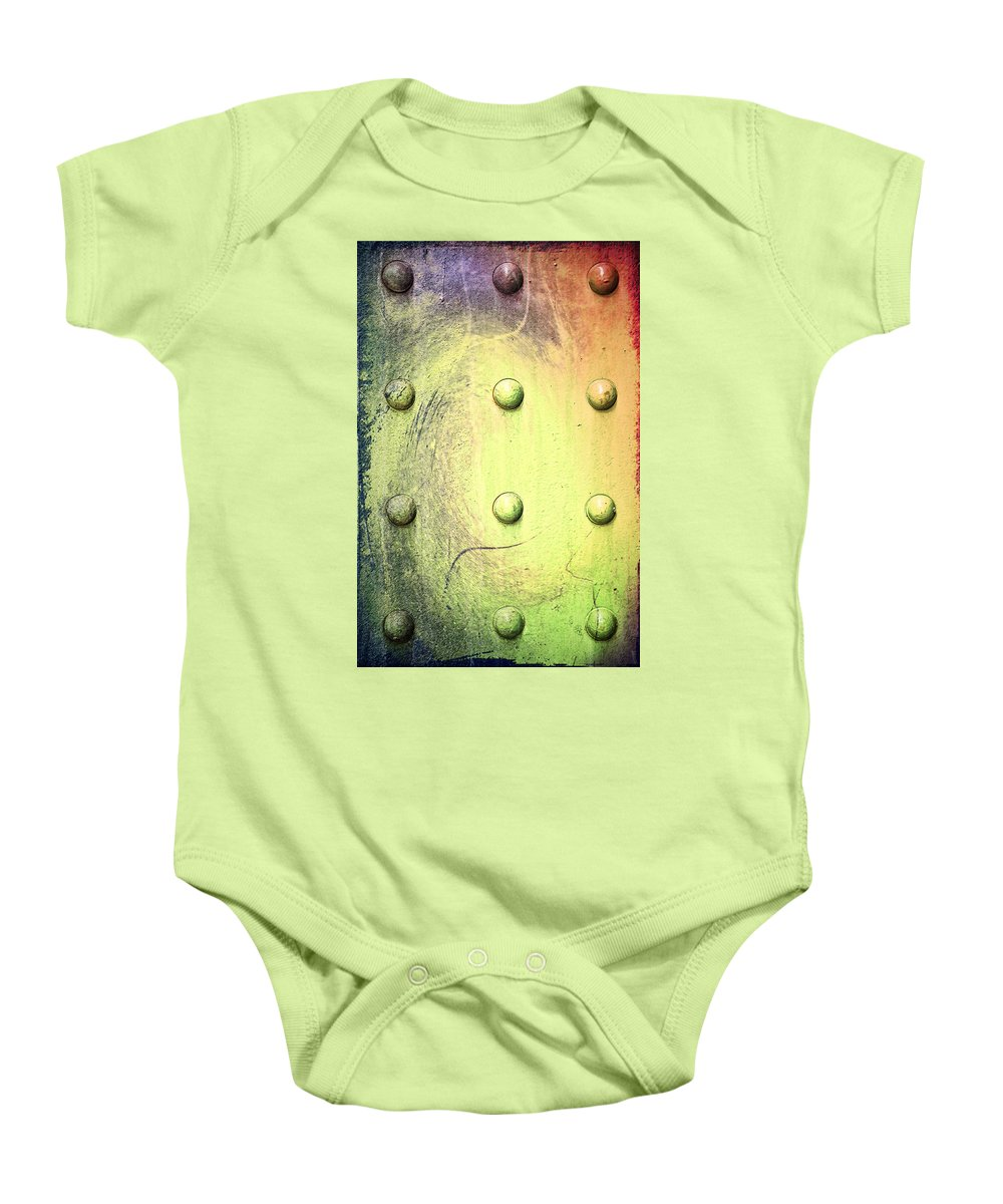 Steel Baby Onesie featuring the photograph Steel Beam Abstract by Bill Cannon