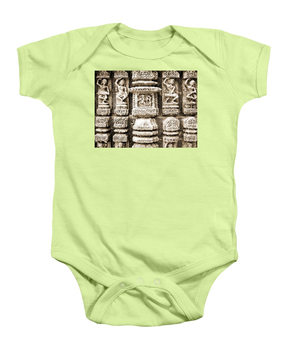 Temple Baby Onesie featuring the photograph Stone Carvings In An Indain Temple by Sumit Mehndiratta