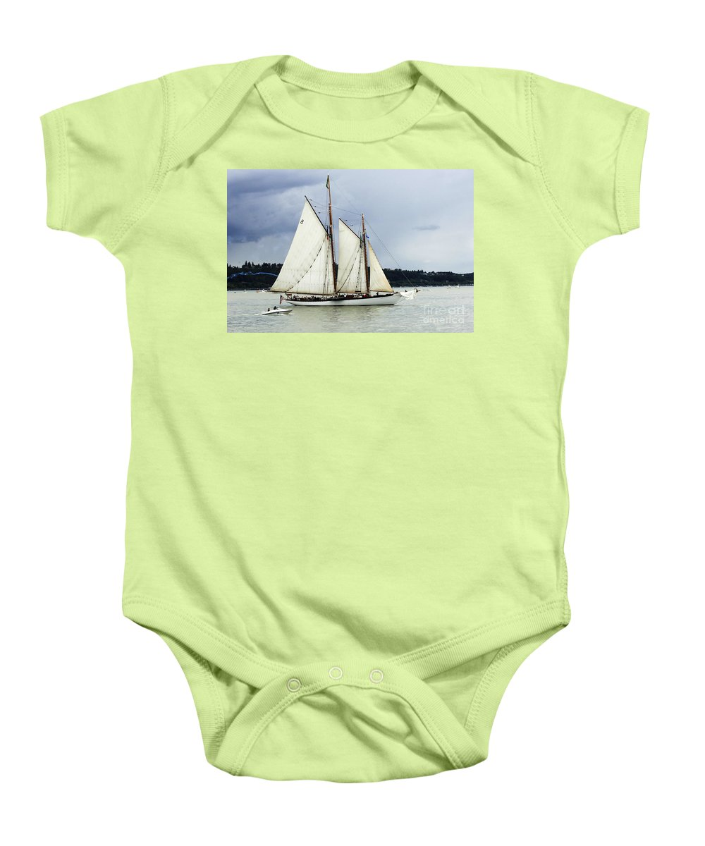 Tall Ship Baby Onesie featuring the photograph Tall Ship Tacoma by Bob Christopher