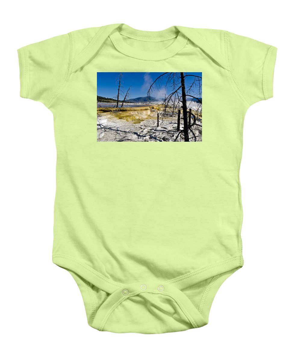 Yellowstone National Park Baby Onesie featuring the photograph Terrace Trees by Jon Berghoff